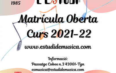 Inscripción abierta curso 2021 – 2022 L'Estudi Escuela de música en Tarragona